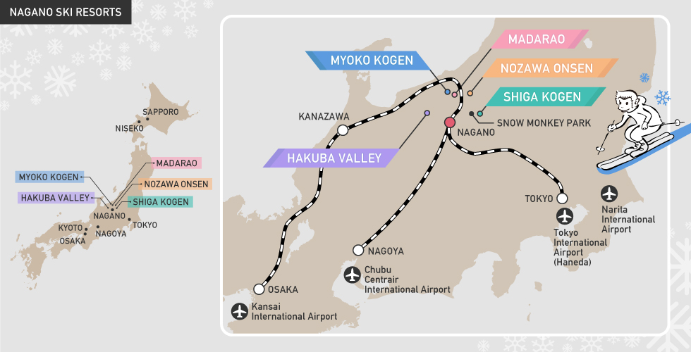 NAGANO SKI RESORTS map