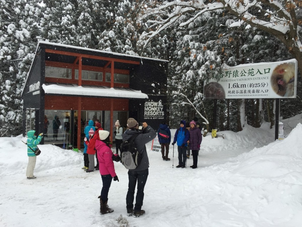 Snow monkey info and gift shop in winter