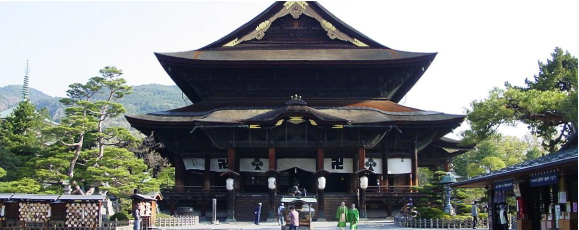 Zenko-ji Temple shown in wide view angle