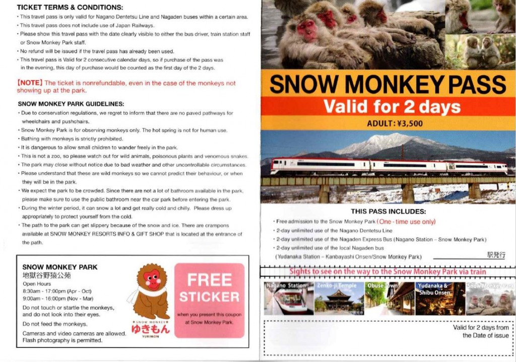 snow monkey 2 day pass
