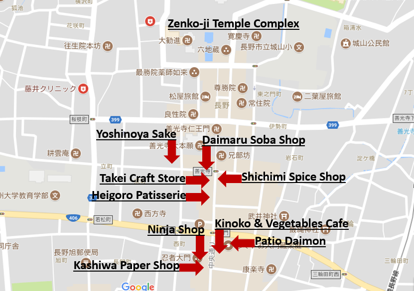 Map Interesting places of Zenkoji