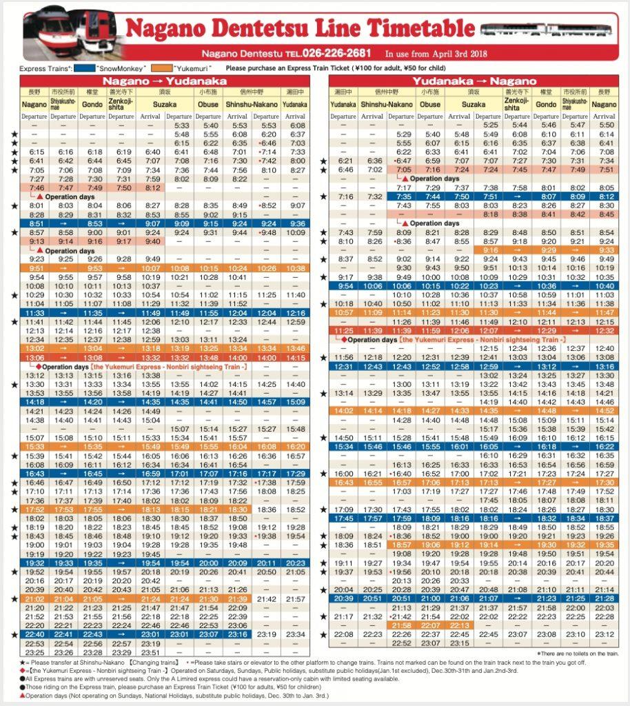 Nagano-Dentetsu-Line-Timetable