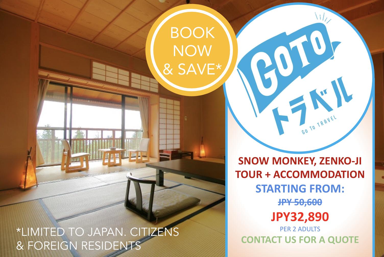 Go To Deals: Snows Monkey, Zenko-ji & Sake Tour + Accommodation