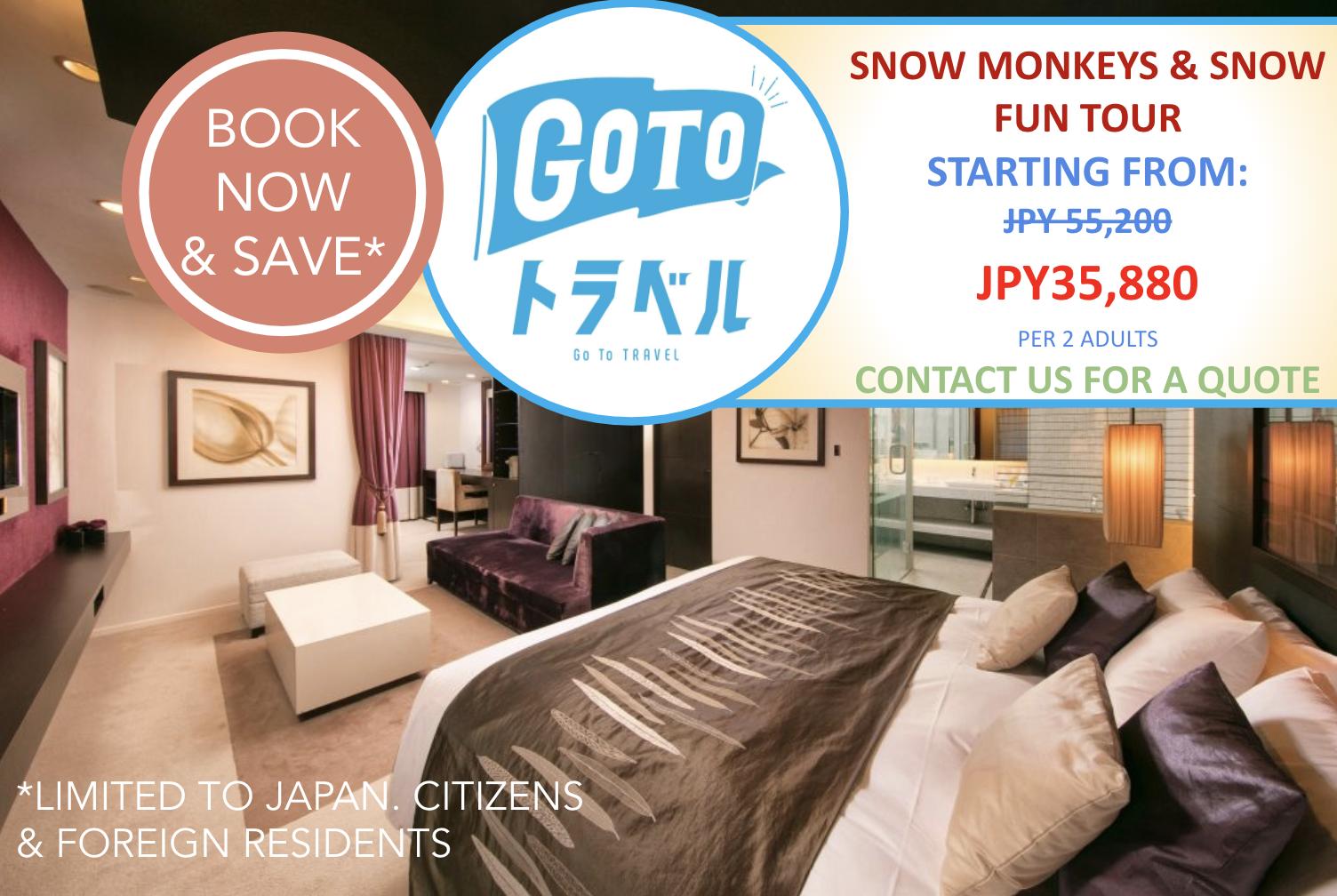 Go To Deals: Snow Monkeys & Snow Fun in Shiga Kogen Tour + Accommodation