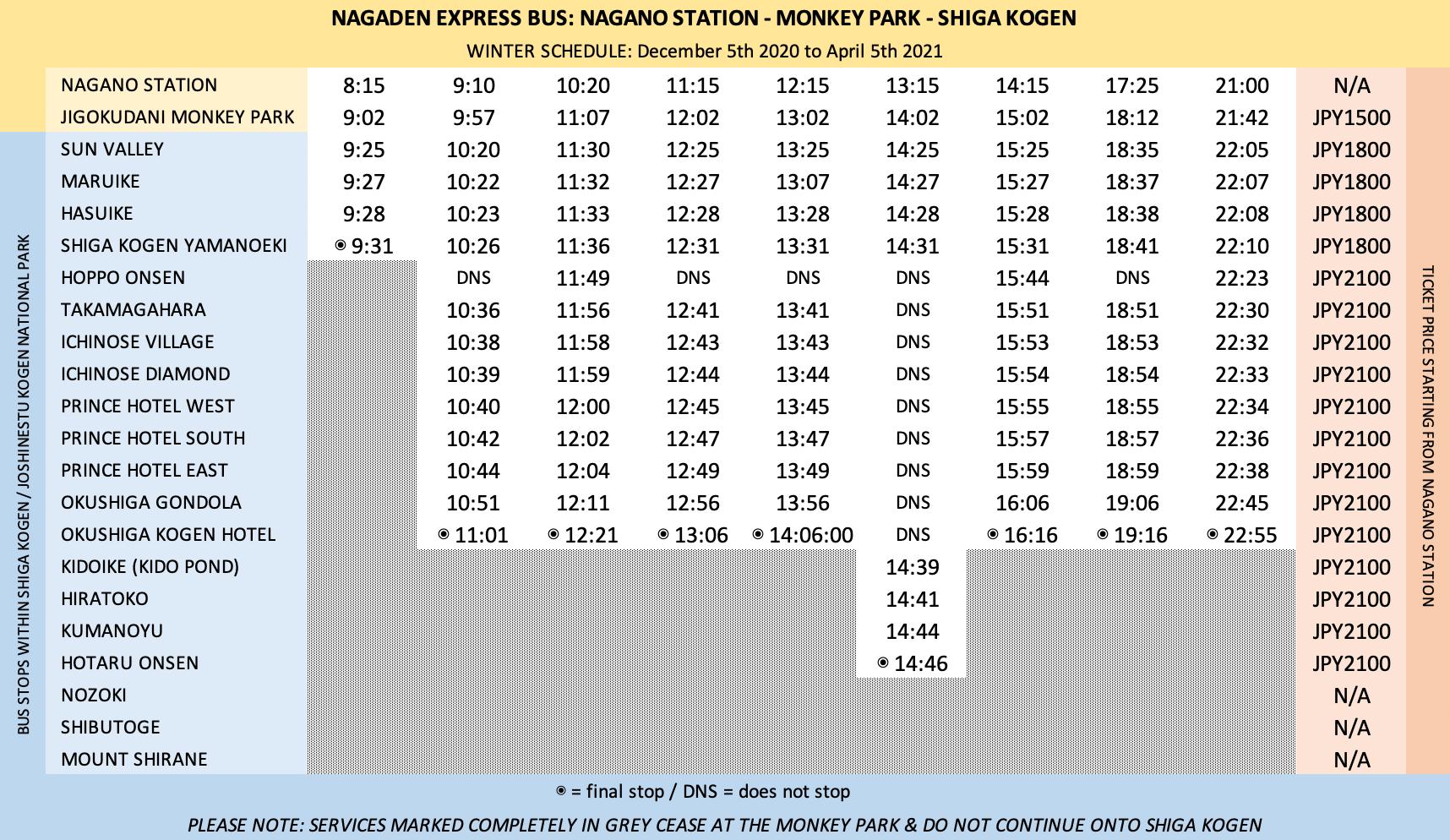 Nagano Express Bus Timetable 2020_2021