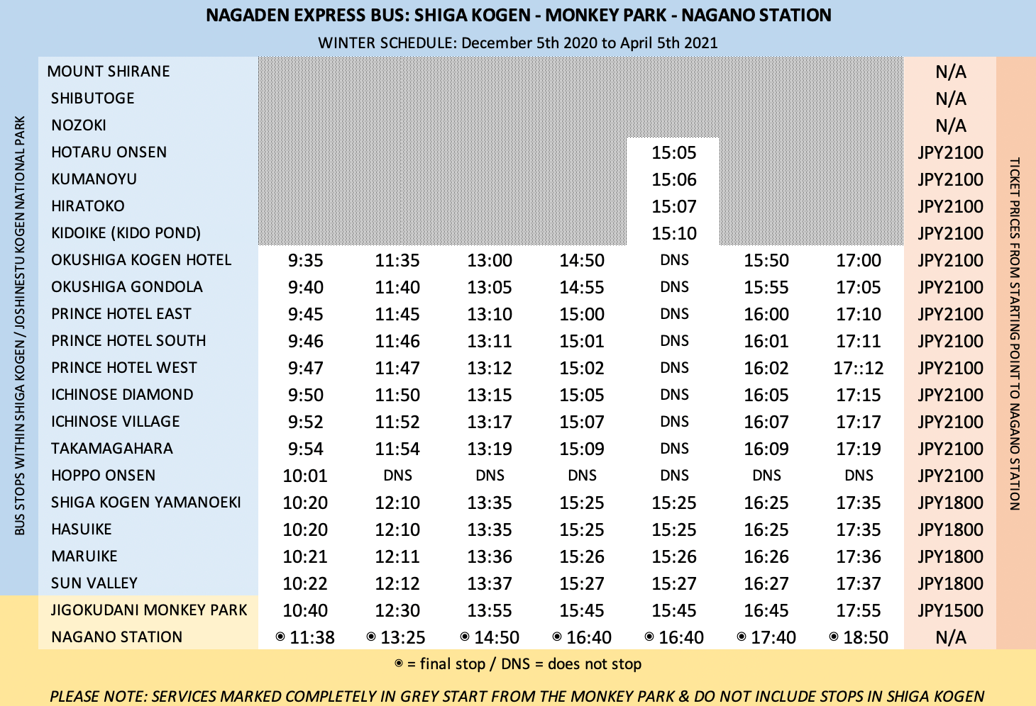 Nagano Express Bus Timetable return 2020_2021