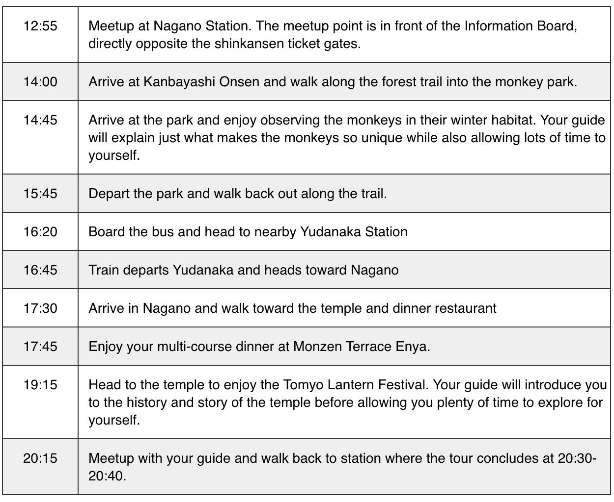 Tomyo-Itinerary